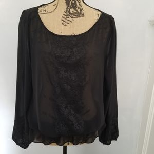 🔥3 for $25🔥Large a.n.a. lace trim peasant blouse